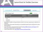 systemcheck for testnav overview