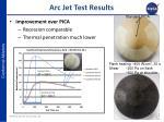 arc jet test results