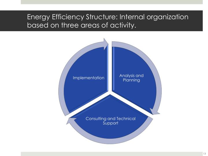 Energy Efficiency Structure: Internal organization based on three areas of activity.