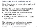 welcome to the parallel world