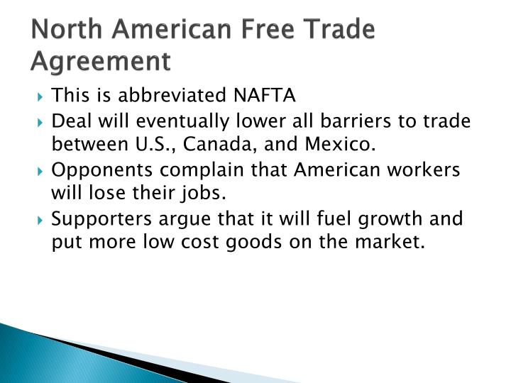 a comparison between the european union and the north american free trade agreement Many of the claims made by hst  free trade agreement (nafta) in.