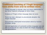 traditional teaching of tlingit language from shifts from oral to written word