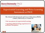 experiential learning and prior learning assessment at pace