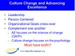 culture change and advancing excellence
