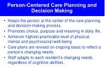 person centered care planning and decision making