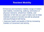 resident mobility