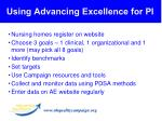 using advancing excellence for pi