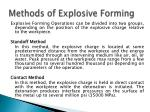 methods of explosive forming