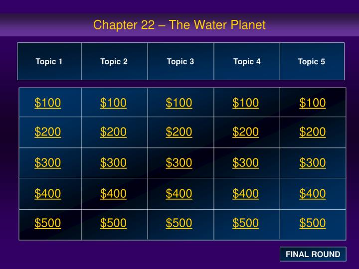 Chapter 22 the water planet