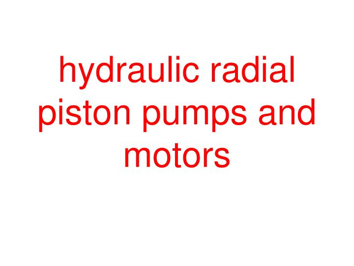 hydraulic radial piston pumps and motors n.