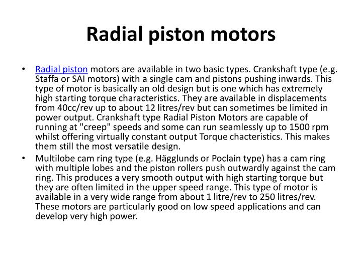 Hydraulic radial piston pumps and motors ppt video online download.