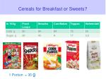 cereals for breakfast or sweets