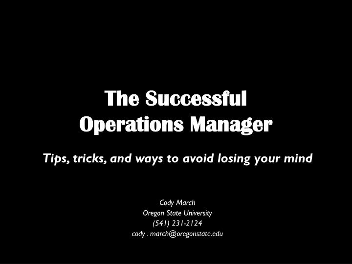 the successful operations manager n.