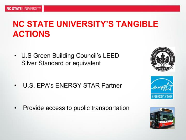 NC STATE UNIVERSITY'S TANGIBLE ACTIONS