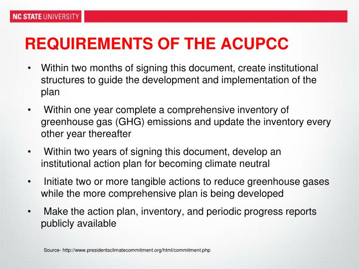 REQUIREMENTS OF THE ACUPCC