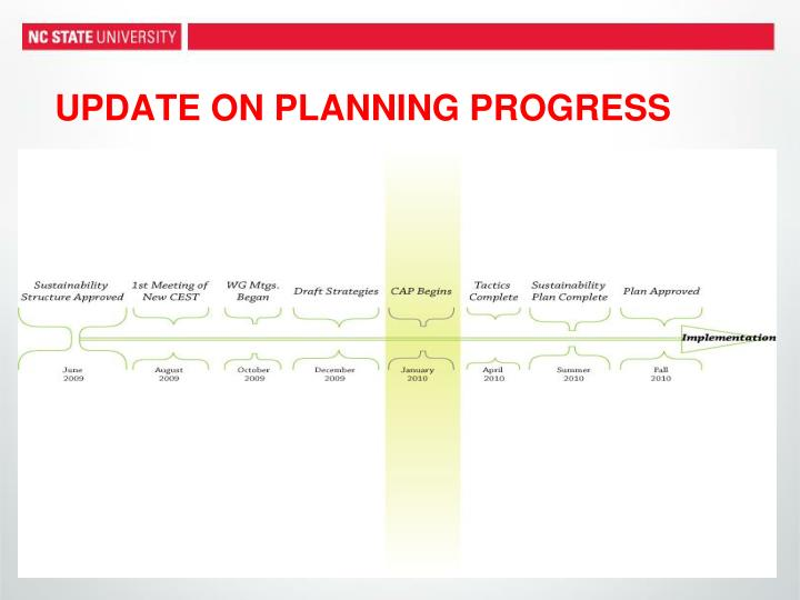Update on planning progress