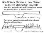 non uniform floodplain levee storage and levee modification concepts