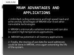 mram advantages and applications