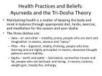 health practices and beliefs ayurveda and the tri dosha theory