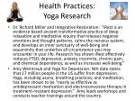 health practices yoga research