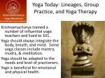 yoga today lineages group practice and yoga therapy