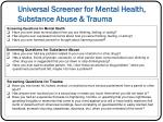 universal screener for mental health substance abuse trauma
