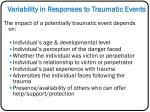 variability in responses to traumatic events