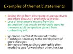 examples of thematic statements