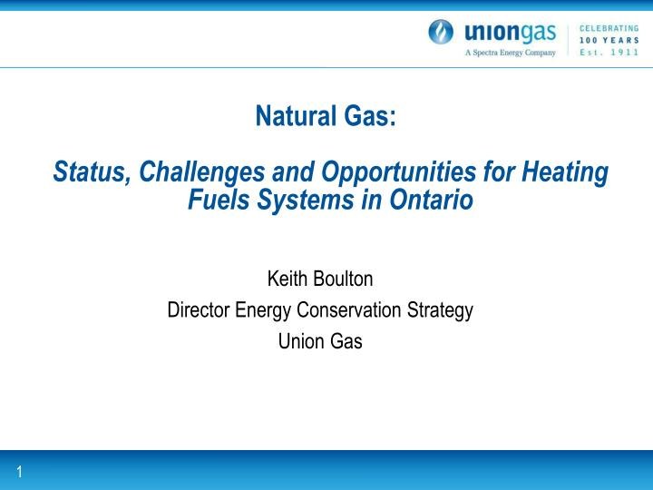 natural gas status challenges and opportunities for heating fuels systems in ontario n.
