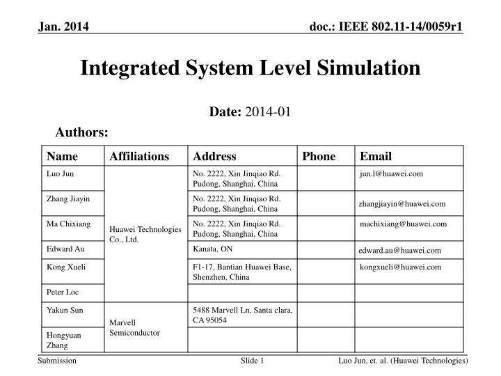 integrated system level simulation n.