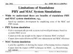 limitations of standalone phy and mac system simulations