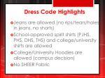 dress code highlights