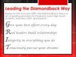 leading the diamondback way