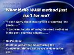 what if the wam method just isn t for me