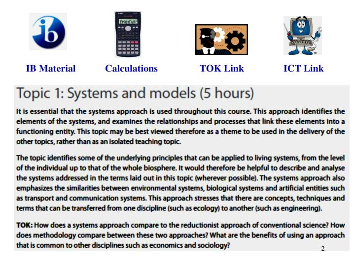IB Material            Calculations                 TOK Link                ICT Link