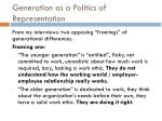 generation as a politics of representation1