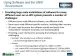 using software and the unix environment