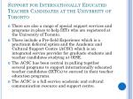support for internationally educated teacher candidates at the university of toronto