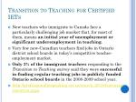 transition to teaching for certified iets