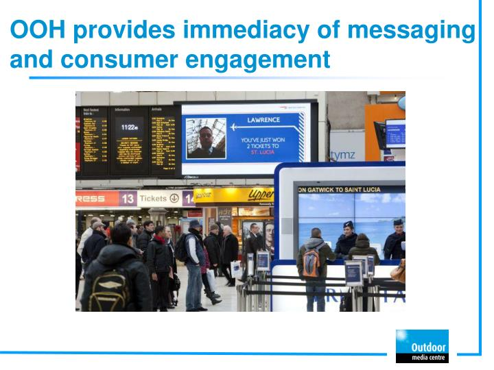 OOH provides immediacy of messaging and consumer engagement