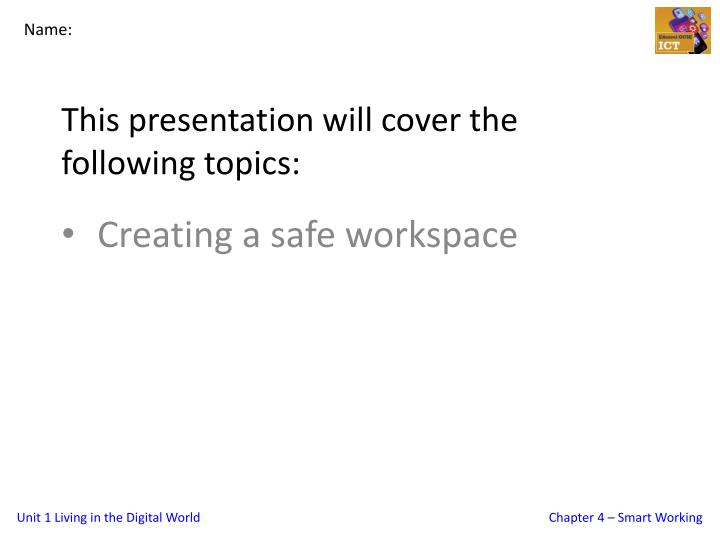 this presentation will cover the following topics n.