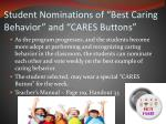 student nominations of best caring behavior and cares buttons