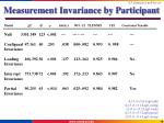 measurement invariance by participant