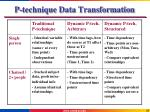 p technique data transformation