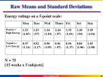 raw means and standard deviations