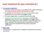 laser treatment for pain control cont