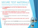 secure test materials inventorying and tracking test materials