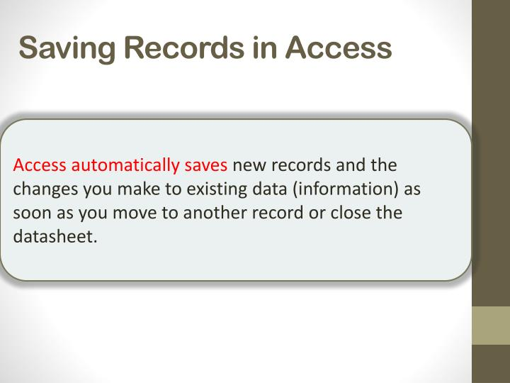 Saving Records in Access