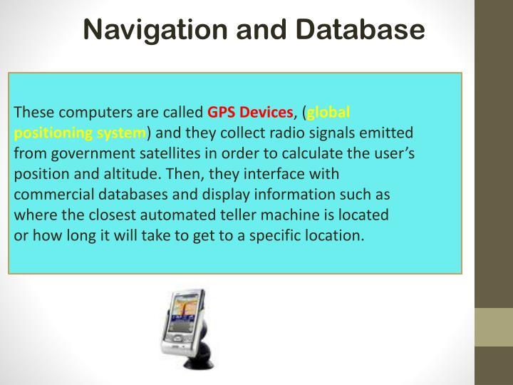 Navigation and Database