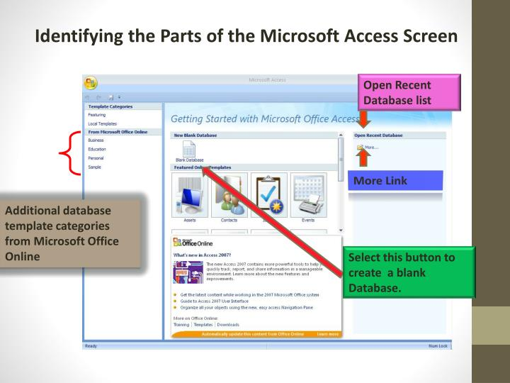 Identifying the Parts of the Microsoft Access